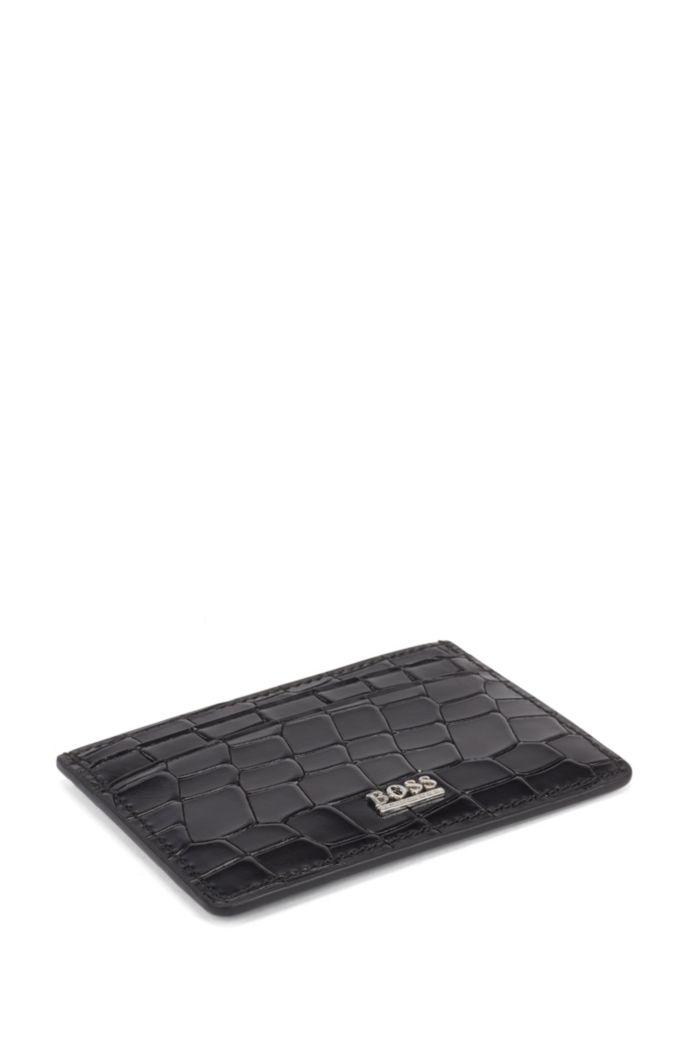 Card holder in crocodile-embossed Italian leather