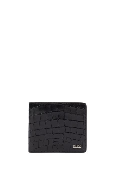 Billfold wallet in crocodile-embossed leather and polished hardware, Black