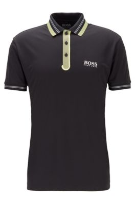 Golf polo shirt in stretch fabric with contrast detailing, Black