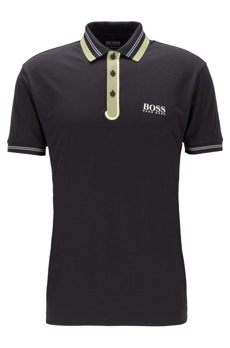 Golf-Poloshirt aus Stretch-Gewebe mit kontrastfarbenen Details, Schwarz