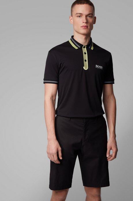 Polo de golf en tissu stretch à détails contrastants, Noir