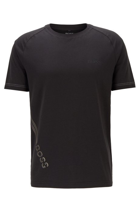 Stretch-cotton T-shirt with rubberised logo print, Black