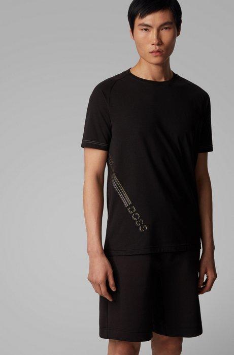 T-shirt van stretchkatoen met gerubberde logoprint, Zwart
