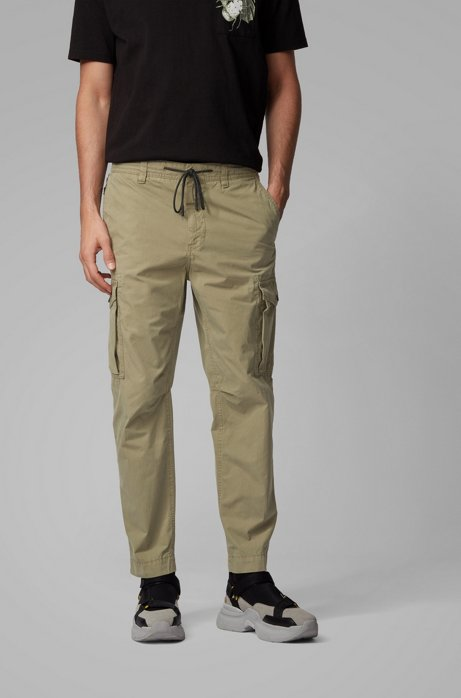 Tapered-fit cargo trousers in cotton with zipped pocket, Green