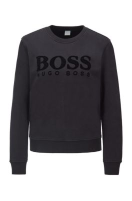 Regular-fit sweatshirt with 3D sequinned logo, Black