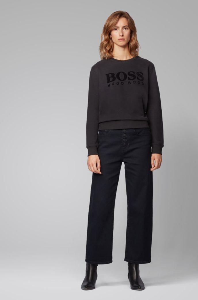 Regular-fit sweatshirt with 3D sequinned logo