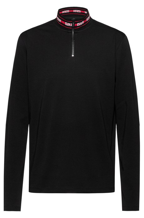 Regular-fit T-shirt met gespiegeld logo op de kraag, Zwart