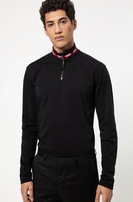 Longsleeve-Poloshirt aus Baumwolle mit Reversed-Logos am Kragen, Schwarz