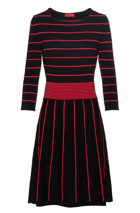 Knitted dress with pop-colour details and flared skirt, Black