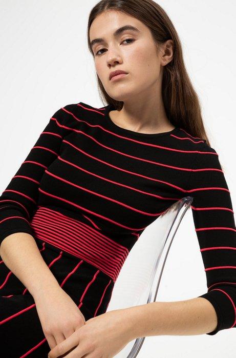 Gebreide jurk met kleurrijke details en uitlopende rok, Zwart
