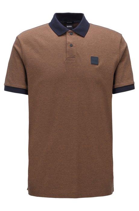 Cotton-piqué polo shirt with press-stud placket, Khaki