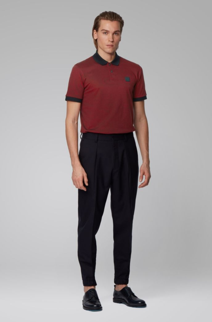 Cotton-piqué polo shirt with press-stud placket