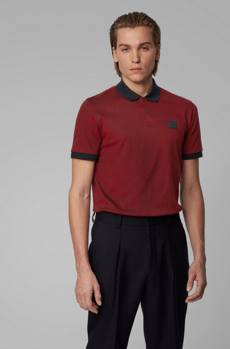 Cotton-piqué polo shirt with press-stud placket, Dark Red