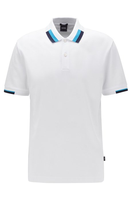 Regular-fit polo shirt with colour-blocking, White