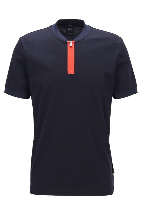 Slim-fit polo shirt in cotton with zip neck, Dark Blue