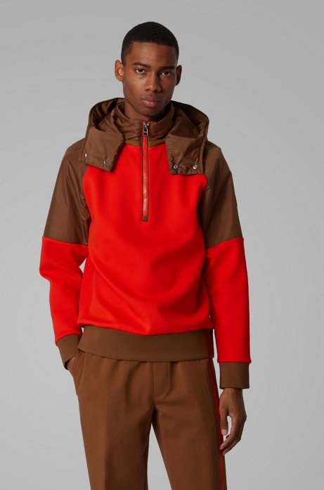 Hybrid-Sweatshirt mit abnehmbarer Kapuze, Orange