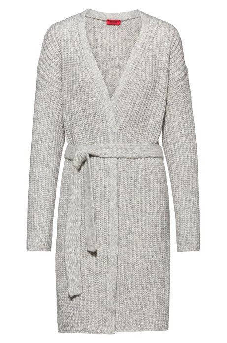 Oversized cardigan with belt and dropped sleeves, Grey