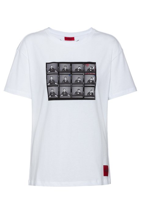 Slim-fit cotton T-shirt with collection-themed graphic, White