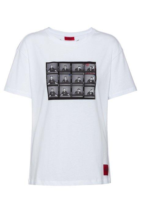T-shirt slim fit in cotone con grafica ispirata al tema della collezione, Bianco