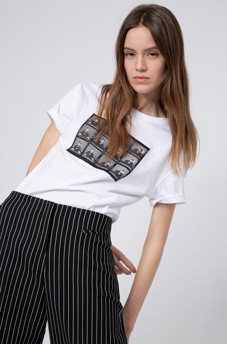 T-shirt Slim Fit en coton à imprimé graphique emblématique de la collection, Blanc