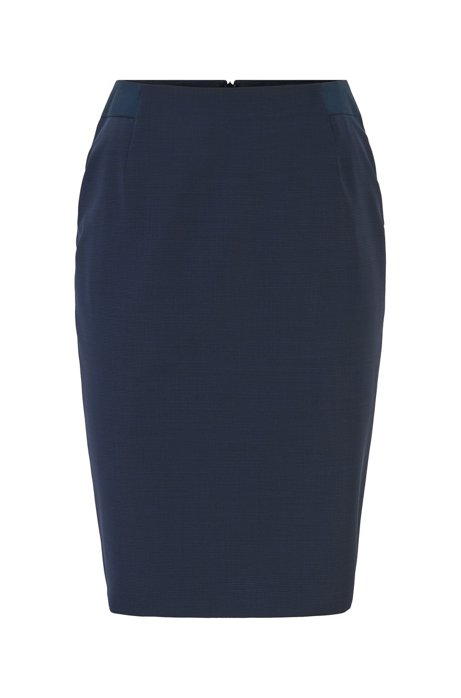 Pencil skirt in pepita-patterned stretch virgin wool, Patterned