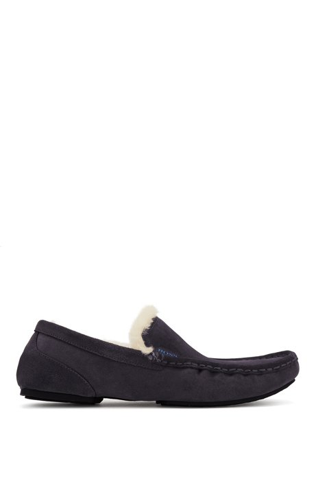 Moccasins in suede with shearling lining, Dark Blue