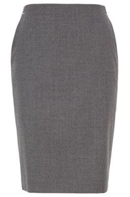 Jupe crayon en flanelle de laine stretch chinée, Gris