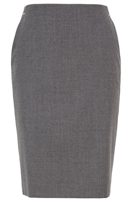 Melange pencil skirt in stretch flannel, Grey