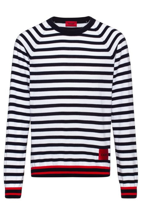 Oversized-fit sweater in cotton with horizontal stripe, Patterned