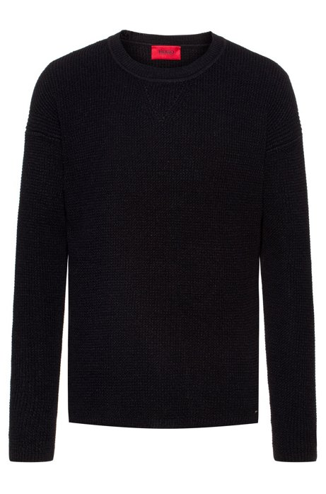 Structured knit sweater in linen and cotton, Black