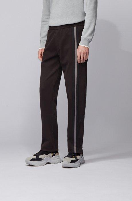 Regular-Fit Jogginghose aus Jersey mit seitlichem Streifen, Schwarz