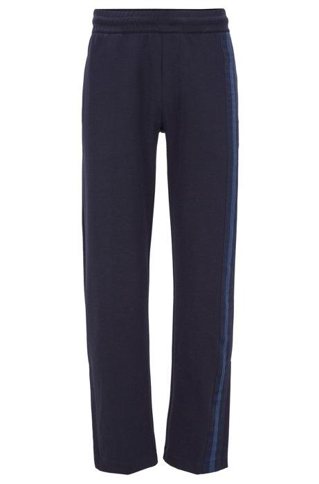 Regular-Fit Jogginghose aus Jersey mit seitlichem Streifen, Dunkelblau