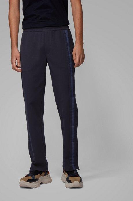 Pantalon de survêtement en coton mélangé avec galon sur le côté, Bleu foncé