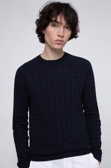 Pull en coton, en maille jacquard structurée, Bleu foncé