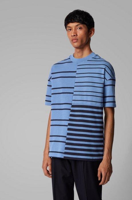 T-shirt Relaxed Fit en coton stretch à rayures mélangées, Bleu