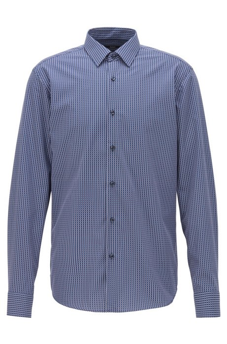 Regular-fit shirt with knit-effect print, Dark Blue