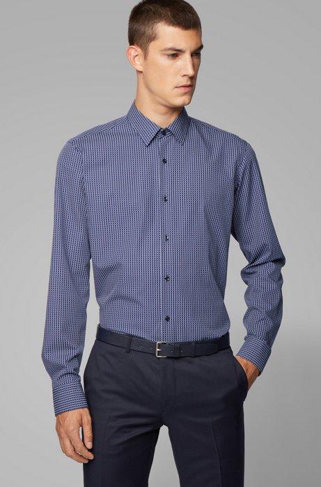Regular-fit shirt with knit-effect print, Dark Blue