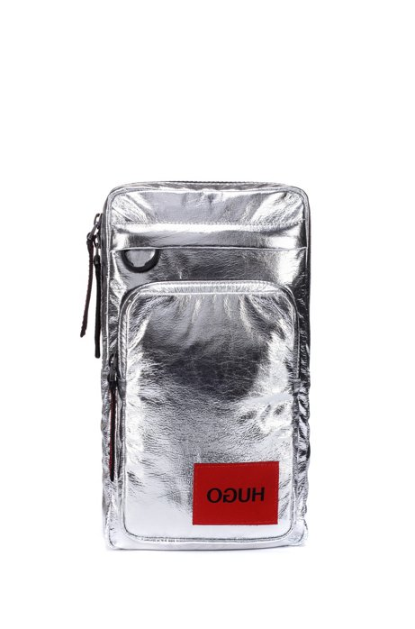 Reverse-logo backpack in silver laminated-effect fabric, Silver