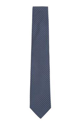 Cravatta in misto seta con motivo a intreccio jacquard, Blu scuro