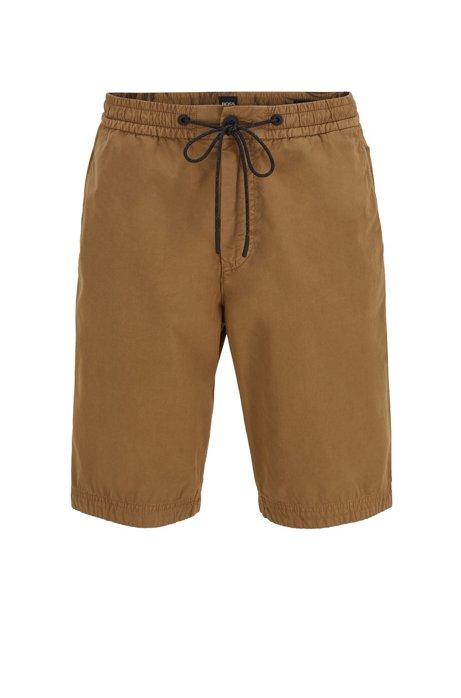 Regular-fit shorts in cotton poplin with drawstring waist, Beige