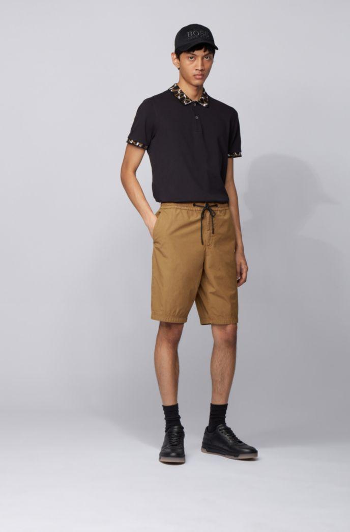 Short Regular Fit en popeline de coton, avec taille à cordon de serrage