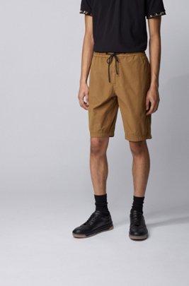 Short Regular Fit en popeline de coton, avec taille à cordon de serrage, Beige