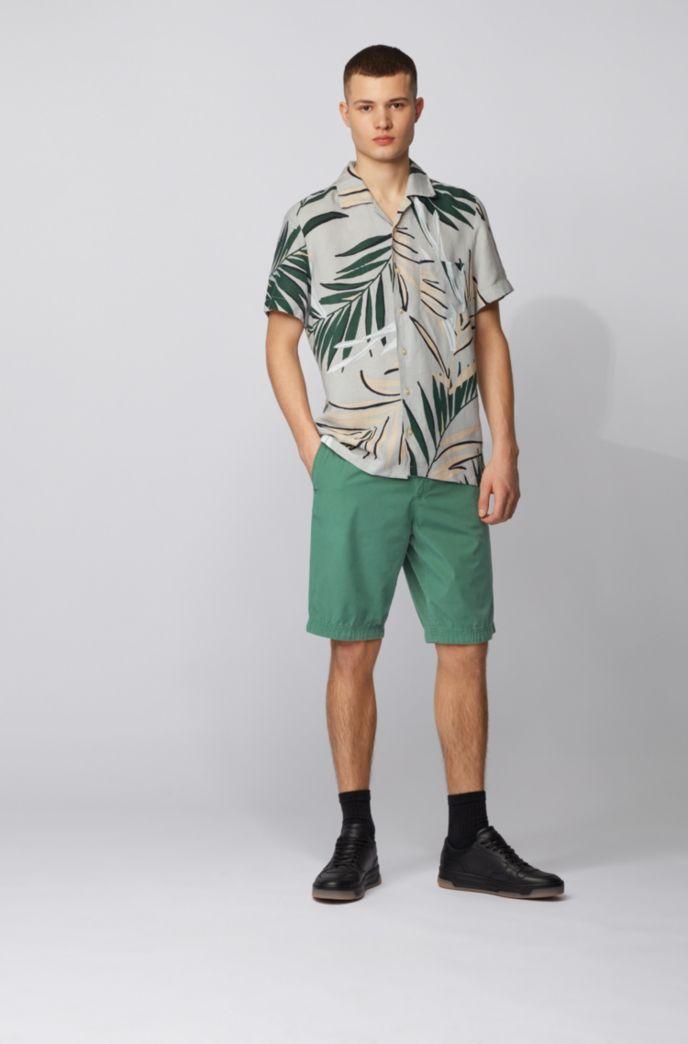 Shorts regular fit de popelín de algodón con cierre de cordón en la cintura