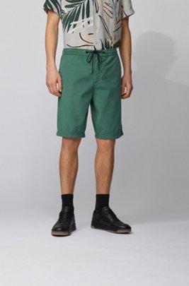 Short Regular Fit en popeline de coton, avec taille à cordon de serrage, Vert
