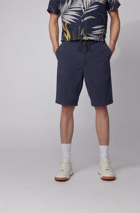 Regular-Fit Shorts aus Baumwoll-Popeline mit Tunnelzugbund, Dunkelblau