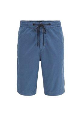 Short Regular Fit en popeline de coton, avec taille à cordon de serrage, Bleu
