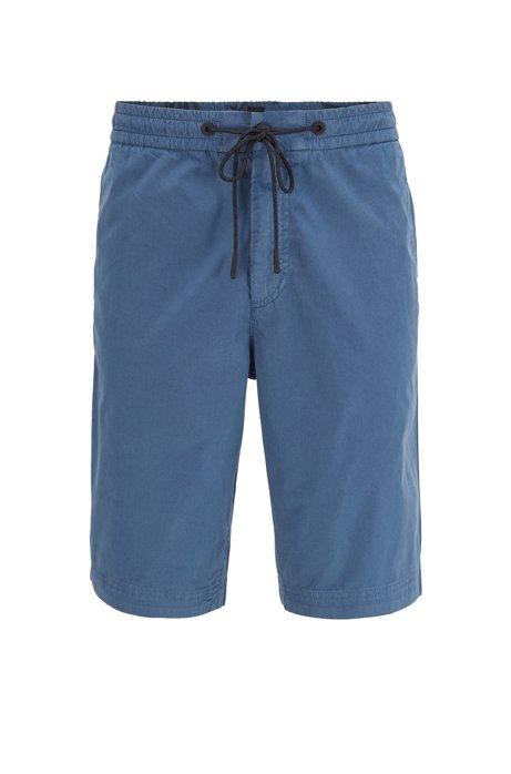 Regular-fit shorts in cotton poplin with drawstring waist, Blue