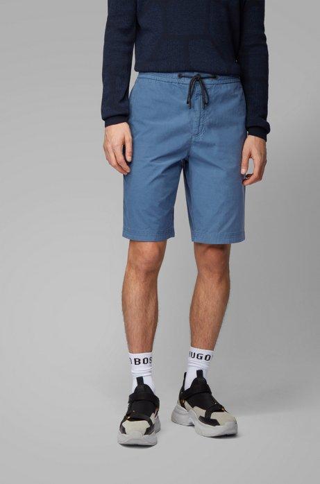 Regular-Fit Shorts aus Baumwoll-Popeline mit Tunnelzugbund, Blau