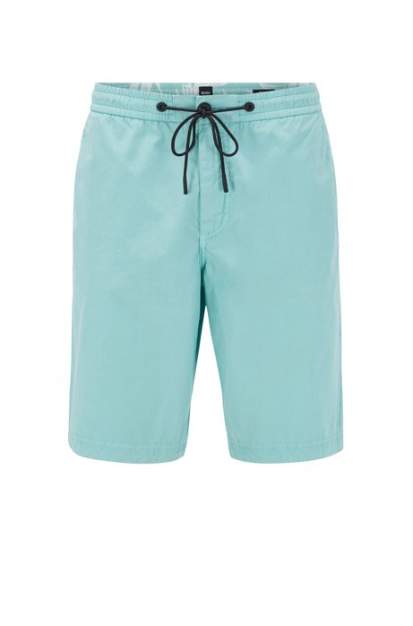Regular-fit shorts in cotton poplin with drawstring waist, Turquoise