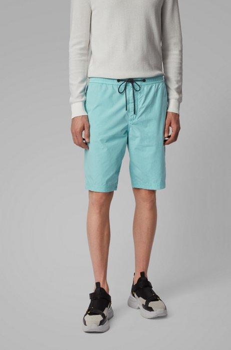 Short Regular Fit en popeline de coton, avec taille à cordon de serrage, Turquoise